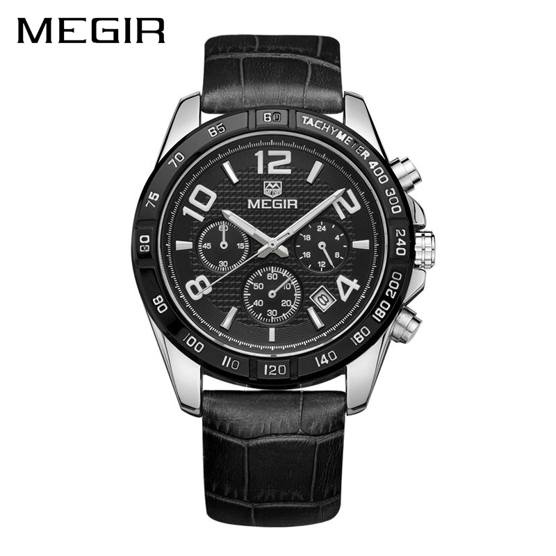 MEGIR Clock Men Relogio Masculino Top Brand Luxury Watch Men Leather Chronograph Quartz Watches Erkek Kol Saati for Male new listing men watch luxury brand watches quartz clock fashion leather belts watch cheap sports wristwatch relogio male gift
