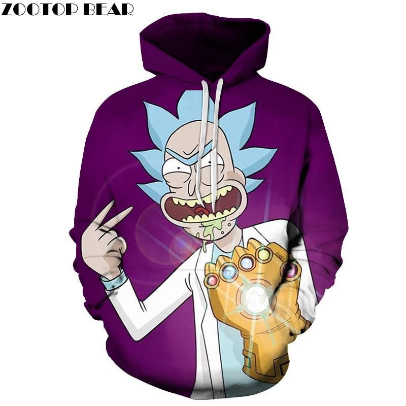 Fashion Hoodies Men Women Sweatshirts Rick and Morty 3D Pullover Streetwear Hoody Anime Tracksuits Autumn DropShip ZOOTOPBEAR