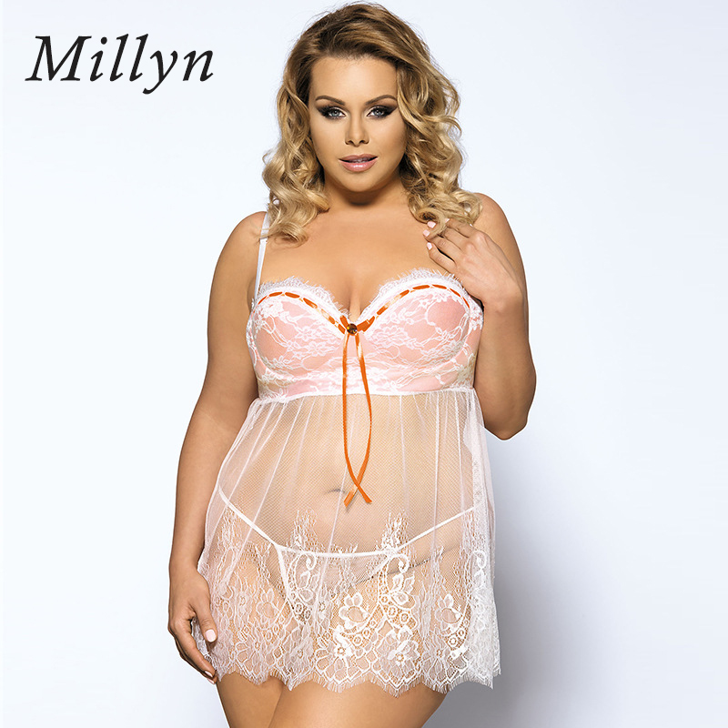 MILLYN sexy underwear bra style summer white sexy pajamas nightdress sexy erotic lingerie sexy babydoll lenceria for ladies 5XL