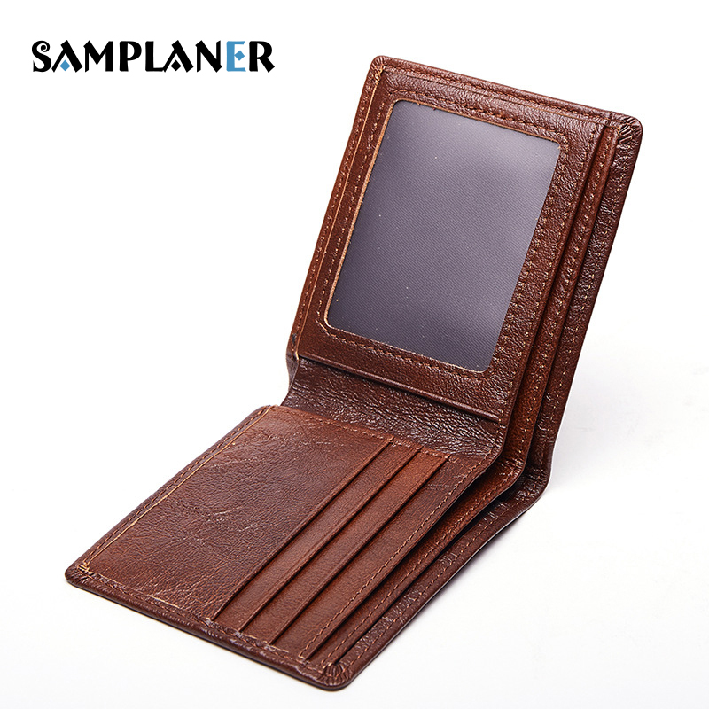 Samplaner 100% Genuine Leather Men Wallet Thin Slim Purse Business Man Short Small Wallets Card Holder Purses Male Bifold Wallet williampolo mens mini wallet black purse card holder genuine leather slim wallet men small purse short bifold cowhide 2 fold bag