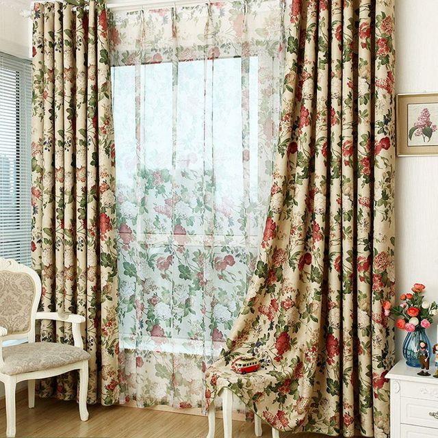 Charmant Blackout Curtains Drops Door Grommet Top Rod Pocket Green Floral Tulle  Curtains Free Shipping 220/