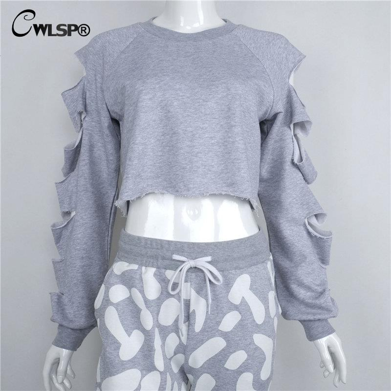 c5eb52c359d CWLSP Sexy Sweatshirt Women Long Sleeve Holes Hollow Out Crop Top Midriff  Women Hoodies Sweatshirt polerones mujer bts kpop-in Hoodies & Sweatshirts  from ...