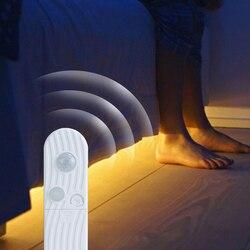 LED Under Cabinet Light 1m 2m 3m Led PIR Motion Sensor Smart Lamp Closet Bedroom Luminaria Battery Lights Kitchen Decor Lighting
