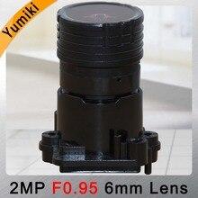 Фокусный объектив Yumiki F0.95 F1.0 6 мм, 2 Мп, 1/2, 7 дюймов, специально для датчика изображения IMX327 , IMX307 , IMX290, IMX291, Фотокамера