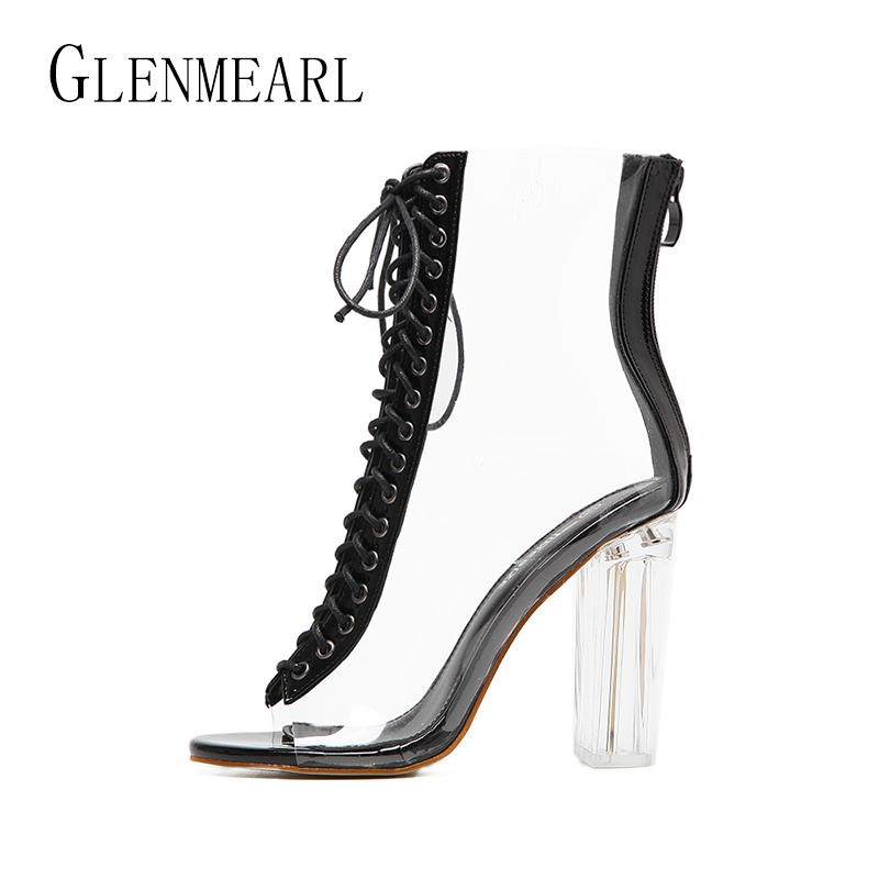 Brand Women Pumps High Heels Shoes Spring Rome Peep Toe Ankle Strap Shoes Woman Thick Heels Transparent Party Pumps Plus Size 45 kemekiss size 31 45 women sweet high heel shoes women ruffle ankle strap thick heels pumps party daily work shoes women footwear