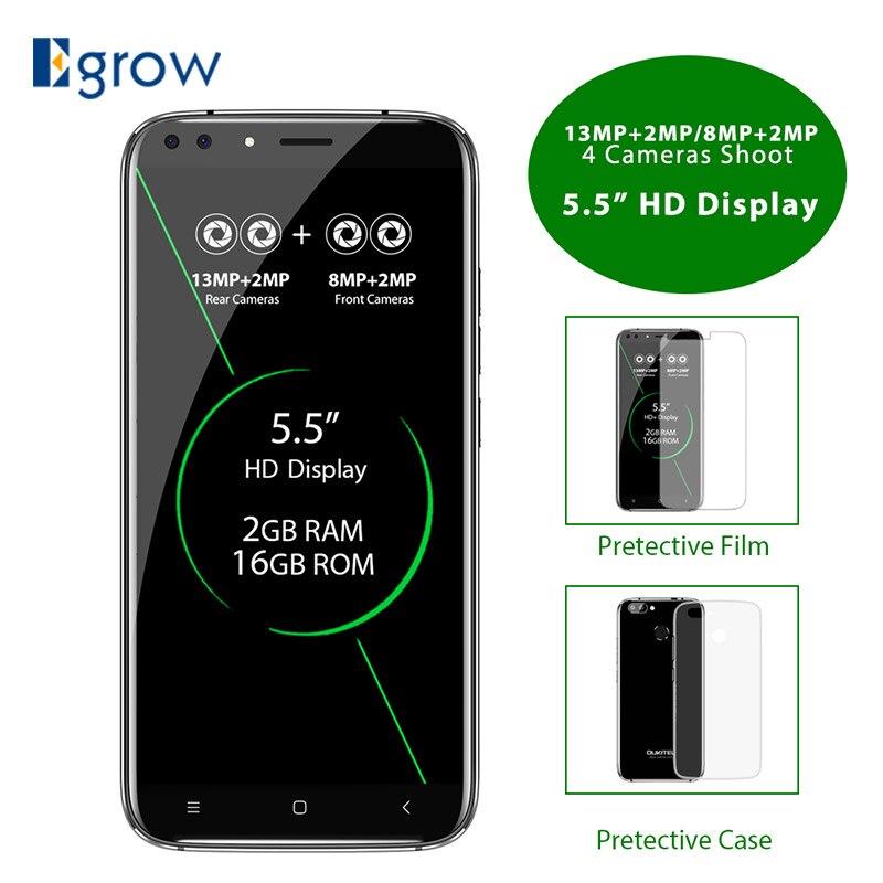 Оригинальный Oukitel U22 5,5 HD 4 ядра смартфон MTK6580A 2 ГБ + 16 ГБ Android 7,0 quad камер 8MP отпечатков пальцев ID 3g мобильного телефона