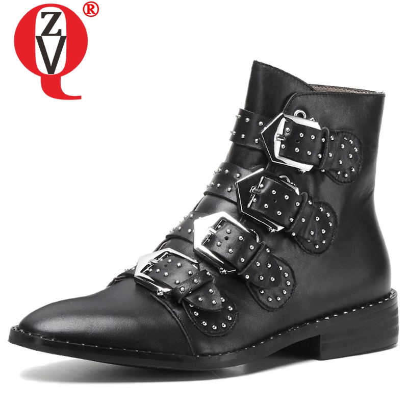 ZVQ 2018 winter warm new fashion genuine leather round toe low square heels buckle women shoes black and white rivet ankle bootsZVQ 2018 winter warm new fashion genuine leather round toe low square heels buckle women shoes black and white rivet ankle boots