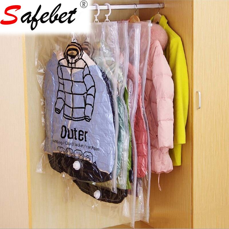 Hanging Transparent Vacuum Bag For Clothes large Clean PVC Foldable Garment Storage Pouch Compressed Organizer Sealed Bag Space