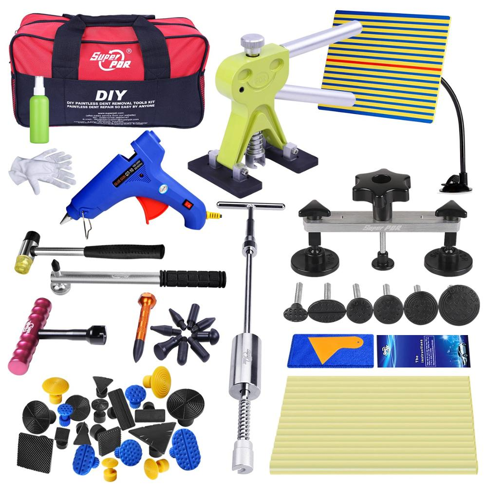 Professionale Kit Per Auto Super PDR Dent Removal Tool di Riparazione Strumenti Set Dent Riparazione Auto Tirando Ponte Pistola di Colla Martello di Gomma Bag