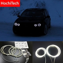 HochiTech ل Volkswagen VW golf 4 1998 2004 الترا مشرق SMD الأبيض LED عيون الملاك 12 فولت خاتم على شكل هالة عدة النهار تشغيل ضوء DRL