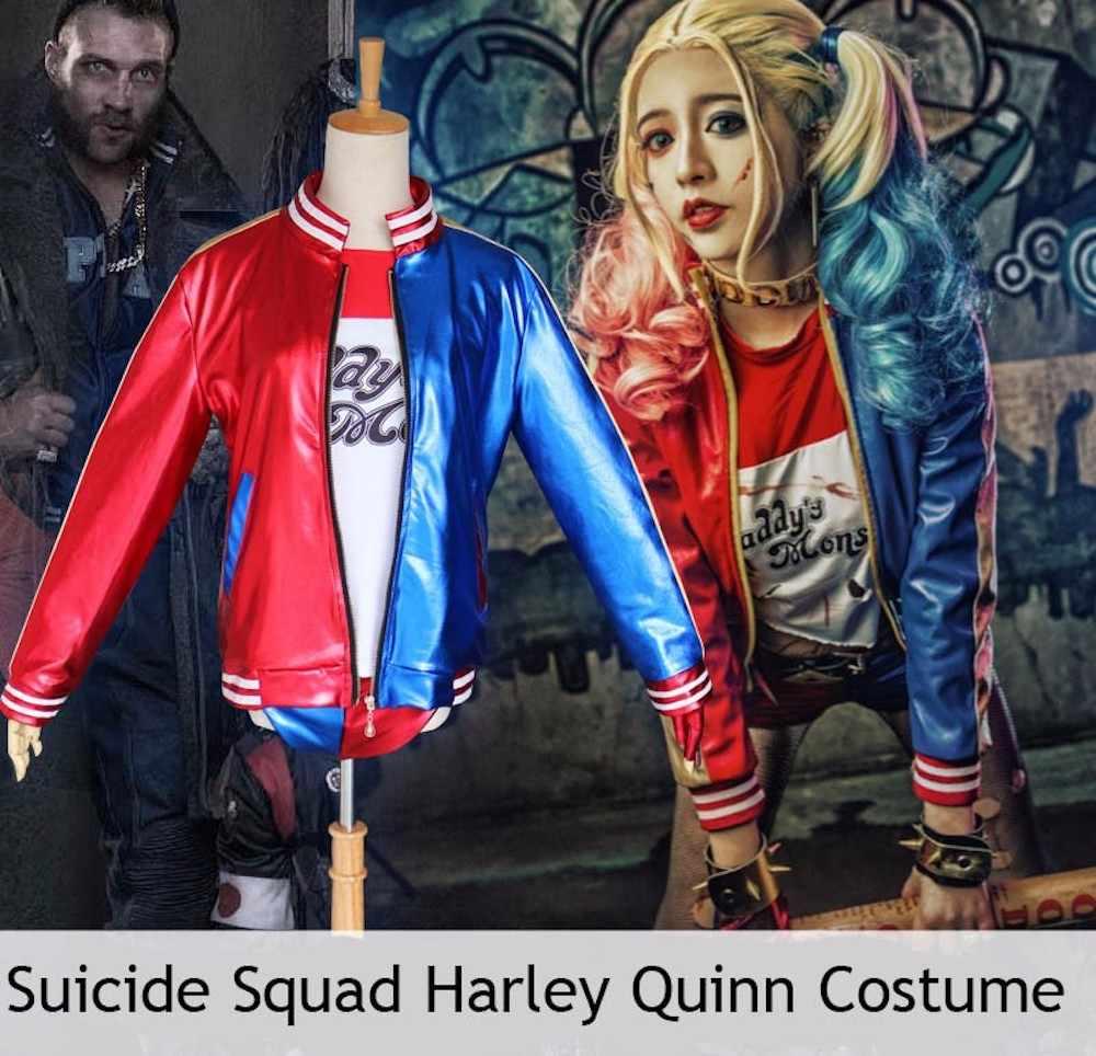 Halloween Joker And Harley Quinn Costumes.Harley Quinn Costume Cosplay Women Girls Kids Joker Suicide Squad Halloween Full Set Purim Jacket Tshirt Shorts Sexy Costumes