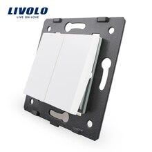 Livolo Белые пластиковые материалы, стандарт ЕС, 2 ганг1 способ функционального ключа для стены кнопочный переключатель, VL-C7-K2-11