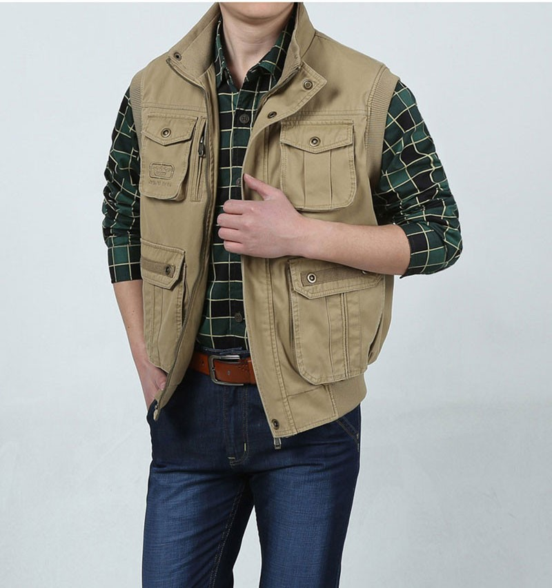 L~7XL 2016 Autumn Spring Brand Clothing Cargo Outdoor Vest Overcoats Men Casual Cotton New Plus Size Sleeveless Jackets Vests (9)