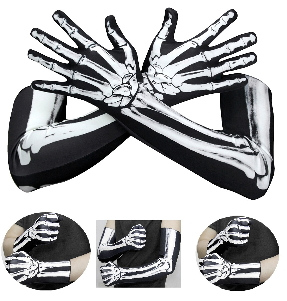 1 Pair Halloween Scary Gloves Creative Unique Bone Gloves Long Gloves Skeleton Gloves For Halloween Cosplay School Play