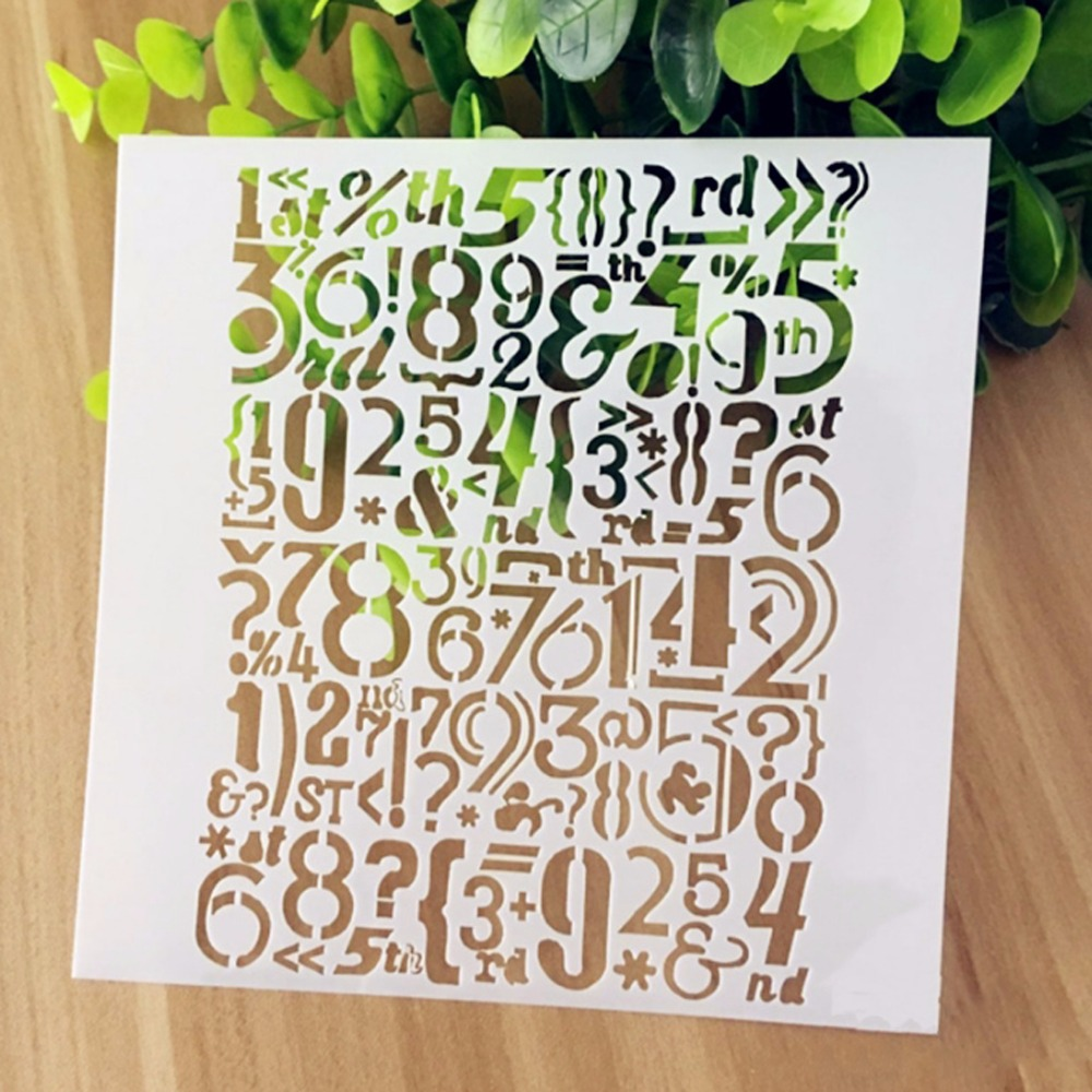 (5.1x5.1 inch) PET Stencils  spray mists and diy patterns copy template Numbers symbol