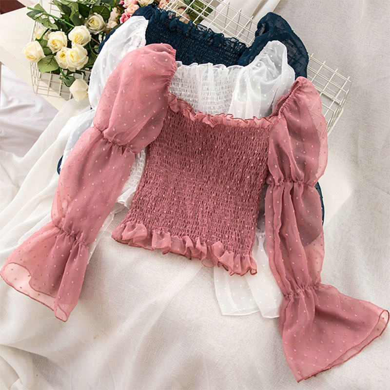 2019 Summer New Chiffon Women Blouse And Shirts Solid Puff Sleeved Sexy Slash Neck Slim Lady Shirts Outwear Coat Tops 0.075
