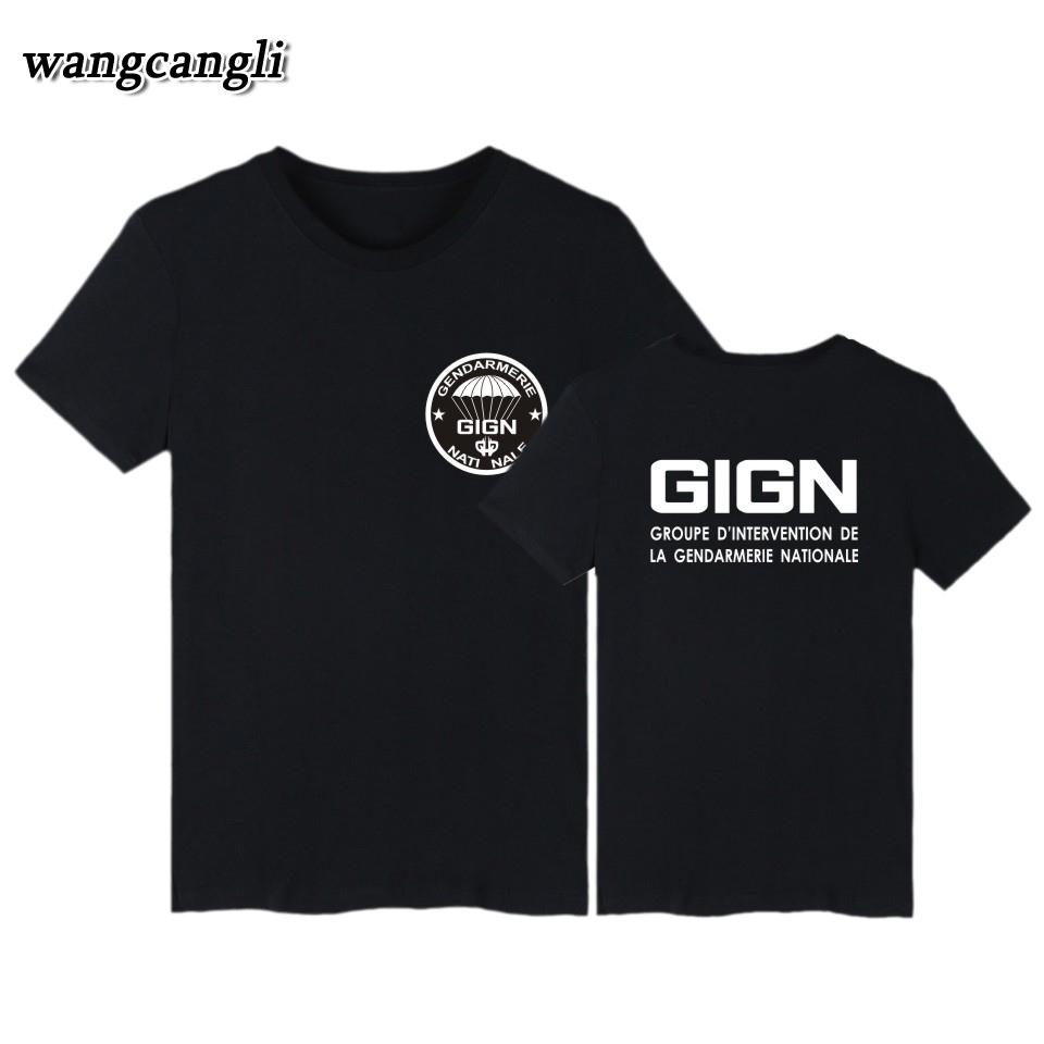 2018 France Special Elite Police Forces Unit GIGN Raid BRI Black T shirt Men Short Sleev ...