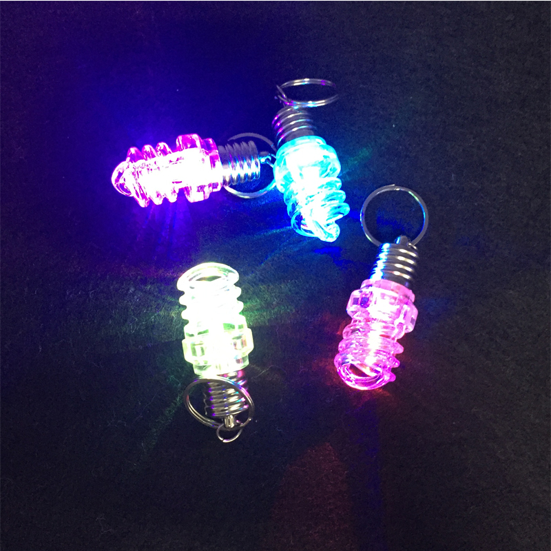 10pcs/lot led bulb key chain glowing spiral lamp keyring light up toy for birthday event party supplies flashing led keyfob toys