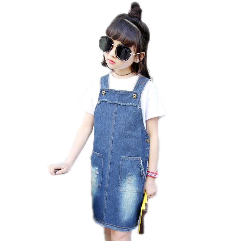 girls summer dress 2017 new toddler girls clothes solid denim kids dresses for girls denim suspender dress with two pocket 4-11T summer girls dresses denim dresses for girls vestido infantil coat denim baby dress 2pcs set with belt toddler party clothes