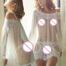 d51ba9760a26b النساء بيبي دول ملابس داخلية الرباط ملابس نوم + g-سلسلة بيبي دول باس النوم  قميص نوم أسود أبيض دي