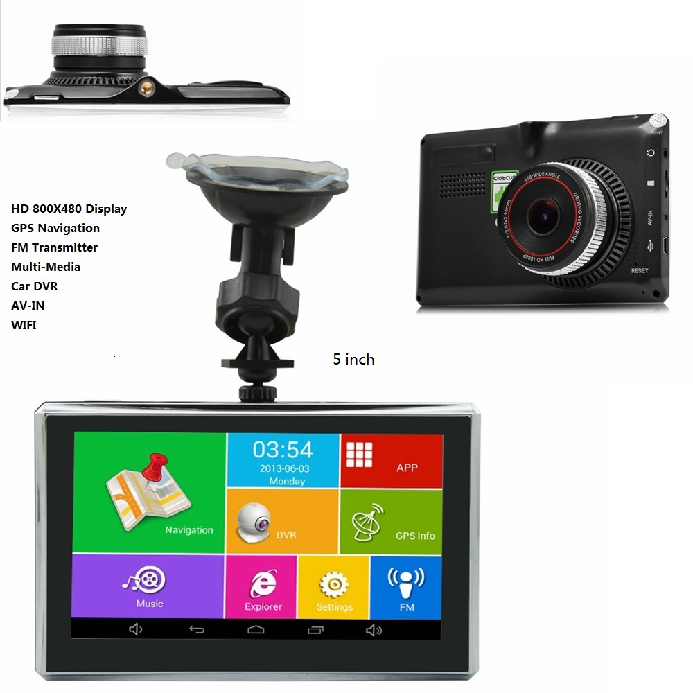 "5"" 7"" Inch HD Android GPS Navigation Sat Navigator Car DVR WIFI AV-IN Bluetooth FM transmitter 512/8G 16GB Bundle free maps(China)"