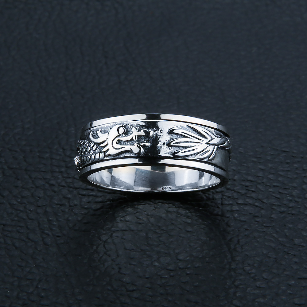 Image 4 - Gagafeel New 100% Real Pure 925 Sterling Silver Dragon Rotatable ring Thai Silver Fine Jewelry free shipping LHYR17-in Rings from Jewelry & Accessories