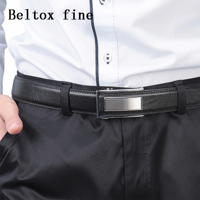 Men 39 s Leather Ratchet Belt with Automatic Buckle Wholesale Luxury Belts for Men Fashion Ceinture Homme Belts for Dresses in Men 39 s Belts from Apparel Accessories
