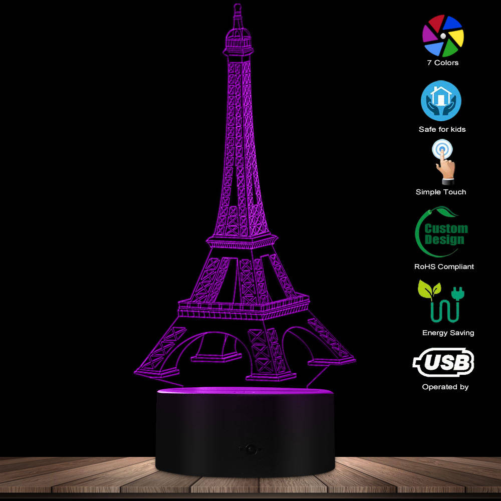 Paris Eiffel Tower Light 3D Illusion Designed Lamp France LED Night Light Romantic Novelty Magical Light LED Lamp Tourist Gift