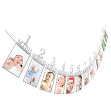12pcs Set Baby Birthday Party Photo Wall Hanging Frame Silver 1-12 Month Photo Banner Picture Holder Bunting DIY decoration(China)