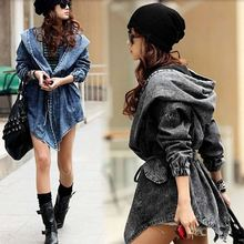 Laipelar Autumn Fashion Jeans Jacket Women Hooded Long Jacket Coat Denim Coat Parka Outwear Coat With Belted Top Outfit flounce trim belted coat