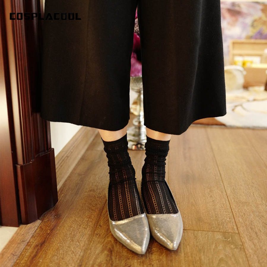 [COSPLACOOL]New Product Hollow Out Mesh Silk Cotton Japan Style Harajuku Sexy Heap Heap Socks Women Beautiful Girls Short Meias