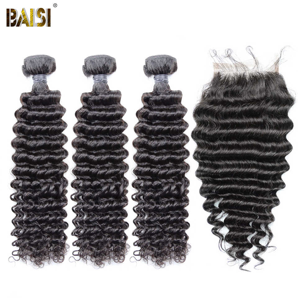 BAISI Hair Brazilian Deep Wave Virgin Hair 8A Hair Weave 3 Bundles with Lace Closure 100% Human Hair