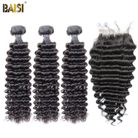 BAISI Hair Brazilian Deep Wave Virgin Hair 8A Hair Weave 3 Bundles with Lace Closure 100% Human Hair