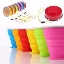 1 Pc 200 ml/240 ml Portable Silicone rétractable tasse pliante avec couvercle télescopique pliable tasse à boire en plein air voyage tasse d'eau