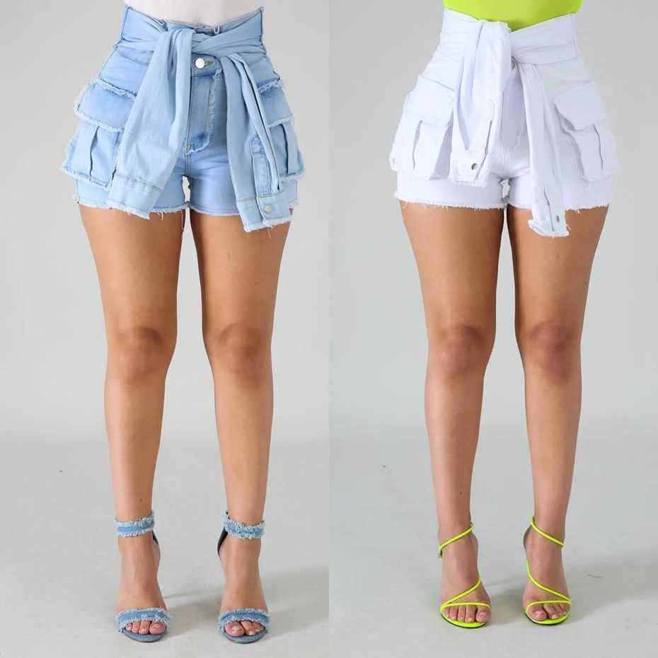 HAOYUAN White Vintage Bandage Denim Shorts Women Stretch Casual Plus Size Summer High Waist Sexy Club Short Jeans