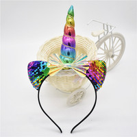 20-2019  The child cat ear rainbow bowknot head Unicorn 's horn with flowers hoop hair party this for children  1pcs Girls Accessories