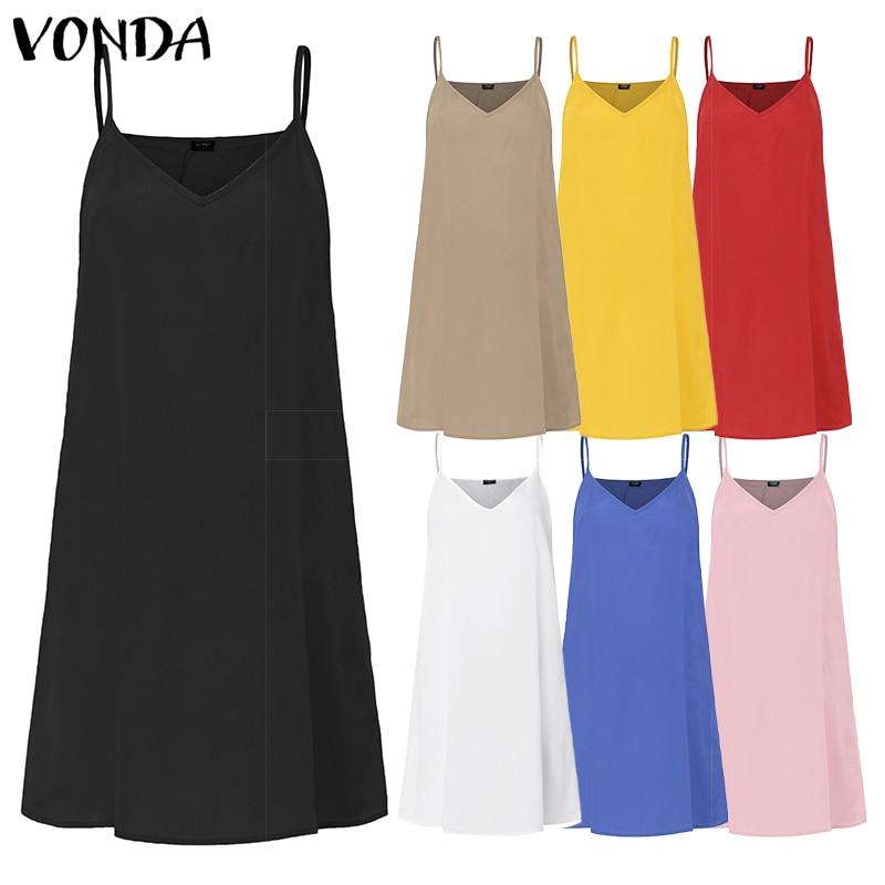 VONDA Women Sexy Dress 2019 Summer Spaghetti Strap Inner Dress Lining Vest Dress Short Sleeveless Vestidos Plus Size