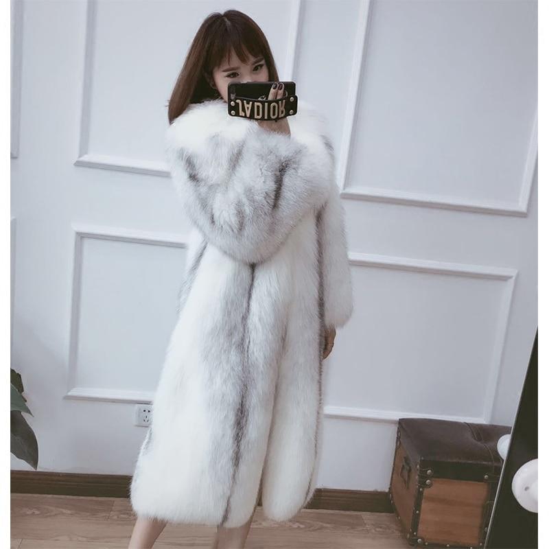 Cross fox fur Long Style Woman Fur Coat Finland Fox Fur Natural Color 2017 Luxury New Stylish Customized Marble pattern
