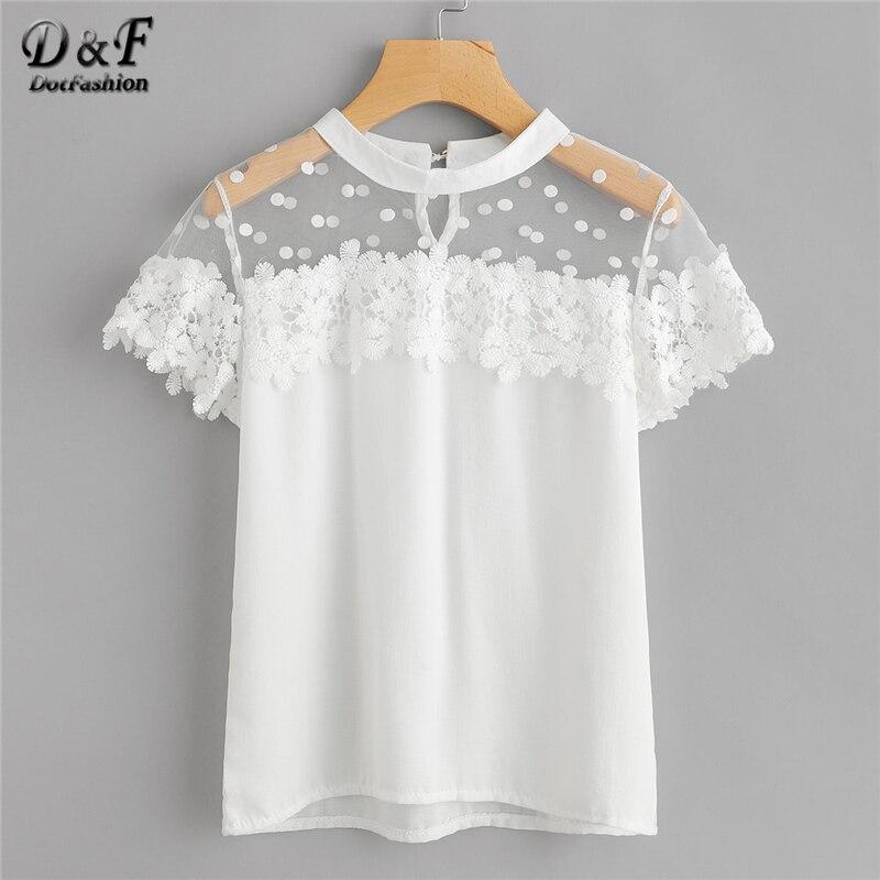 Dotfashion Dot Mesh Panel Crochet Appliques Blouse 2019 New White Short Sleeve Floral Ladies Top Round Neck Plain Blouse blouse