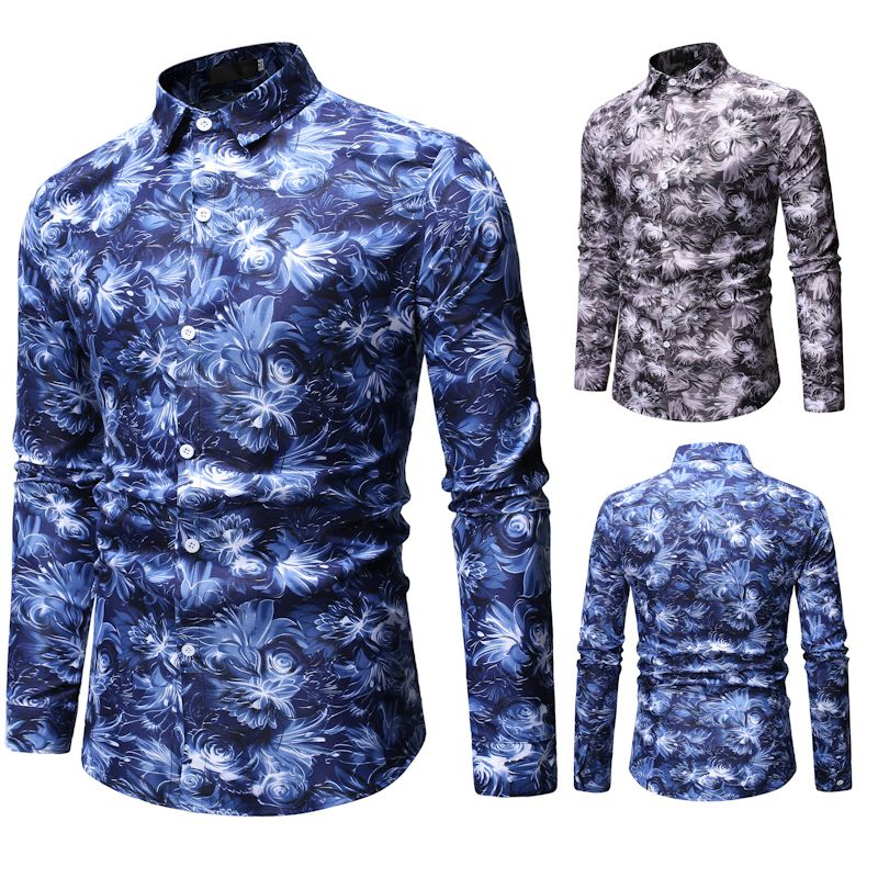 2019 retro floral shirt males's informal shirt vogue basic males's shirt breathable males's long-sleeved model clothes Informal Shirts, Low cost Informal Shirts, 2019 retro floral shirt males's informal shirt...