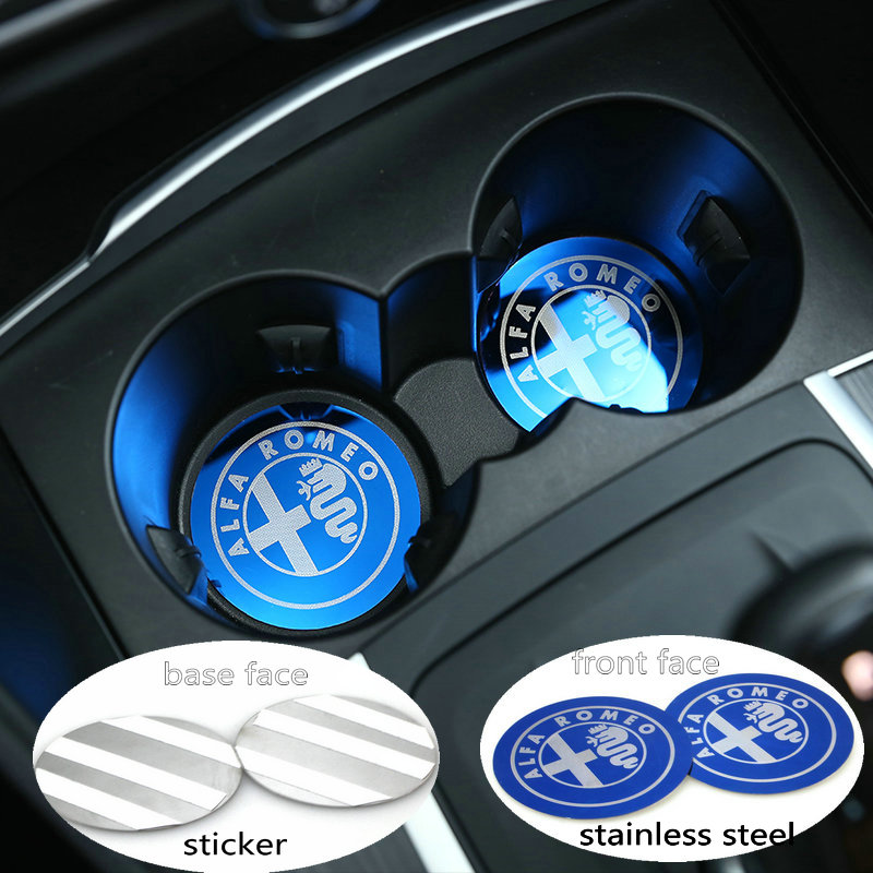 2pcs/Set Black Blue Car Cup Holder Cover Mat Trim Stainless Accessories For Alfa Romeo Giulia Stelvio 2017 Car-styling square stainless steel cup mat coasters set w stand holder silver 4 pieces cup mat