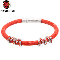 Magic Fish Lover S Stingray Leather Bracelet Silver Stainless Steel Buckle Copper Red Crystal Charm Men