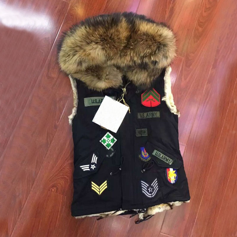 Black Short sleeveless chapter vest jacket natural faux fur lining with big collar waistcoat