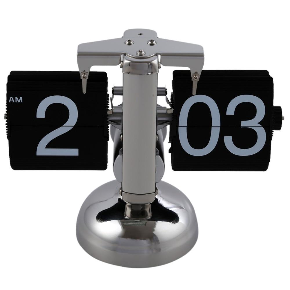 Retro Flip Over Clock Desk Stainless Steel Flip Internal Gear Operated Flip Table Clock Operated Quartz Clocks Small Scale 2