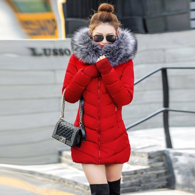 2019 איכות חורף מעיל מעיל חם ארוך נשים parka מלאכותי שווא דביבון פרווה צווארון נשים חורף מעיל slim נשי מעיל