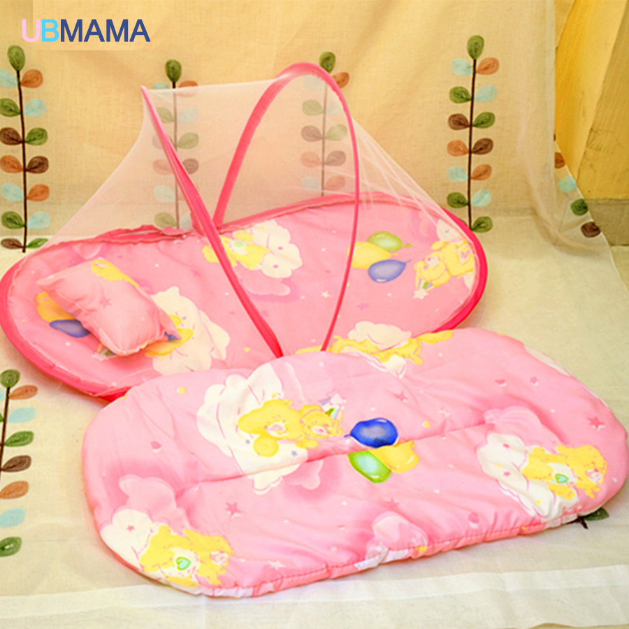 With Netting Pad Foldable Baby Boy Bed Portable Cribs Don't Need Install Cute Pattern Red Blue Crib Newborns Baby Bed