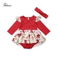 Pudcoco 2018 Newborn   Baby   Girl Christmas   Romper   Lace Fly Long Sleeve Cartoon Tutu Dress 2Pcs Outfit Clothes Costume 0-24M