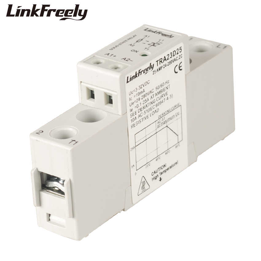 TRA23D25 25A Mini Smart Auto Solid State Relay Modul DC Ke AC 3V 3.3V 5V 12V 24VDC Di Luar 24-280VAC Tegangan SSR Relay Papan