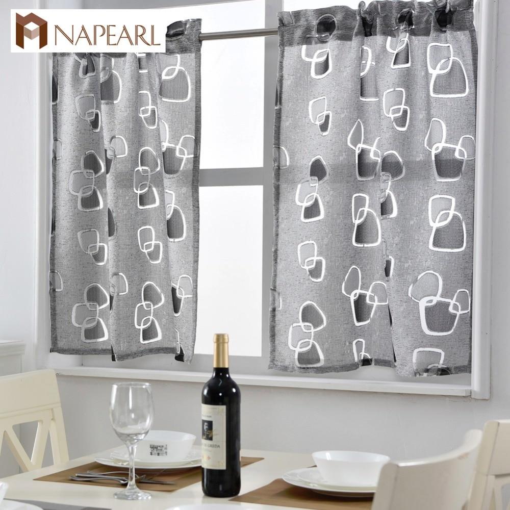 Cheap kitchen curtains window treatments - Short Kitchen Curtains Jacquard Window Treatments Modern Door Ready Made Kitchen Window Curtain Geometric Design Rod