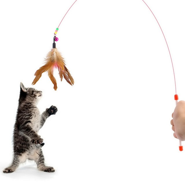 Kitten Cat Pet Toy Wire Chaser Wand Teaser Feather With Bell Beads Play Fun